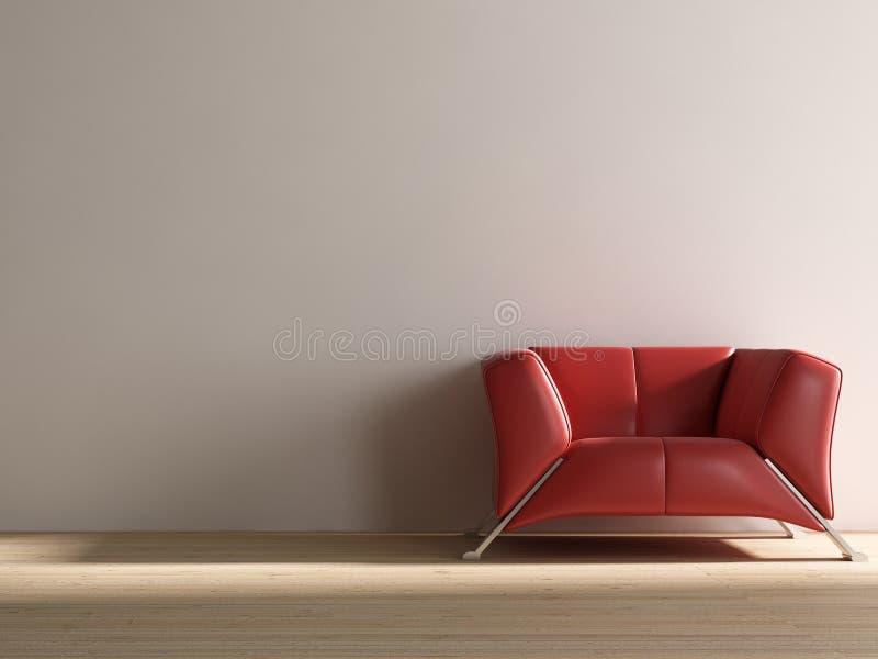 Rote Couch, zum einer unbelegten Wand gegenüberzustellen lizenzfreie stockfotografie