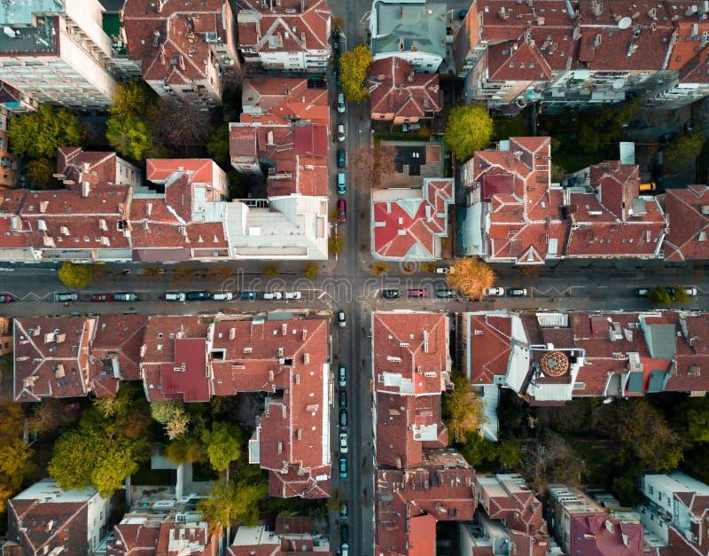 Rote Dächer von Sofia Bulgaria stockfotos