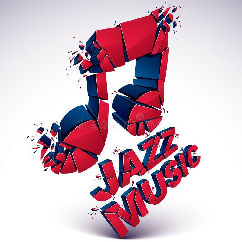 Rote 3d musikalische Anmerkung gebrochen in Stücke, Explosionseffekt lizenzfreie abbildung