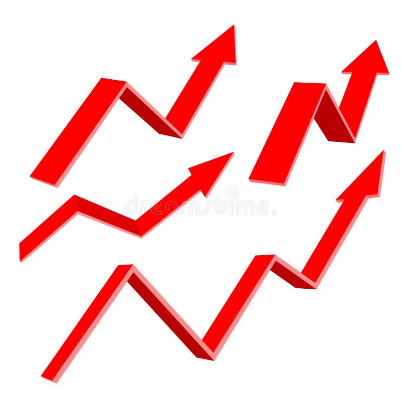 Rote 3d up Pfeile Feder und Finanzreports stock abbildung