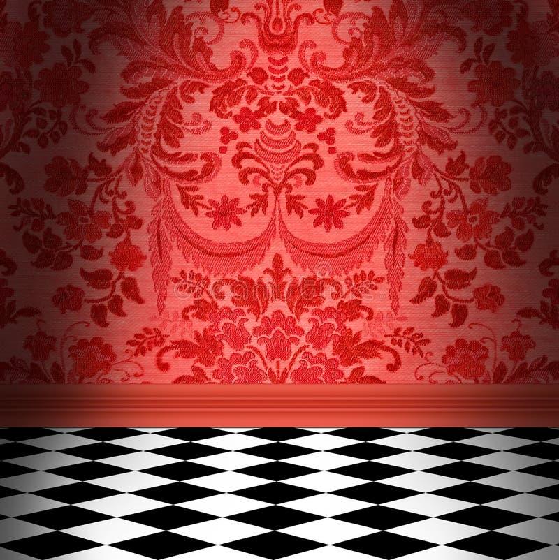 Rote Damast-Tapete mit schwarzem u. weißem Schachbrett-Fliesenboden stockfoto