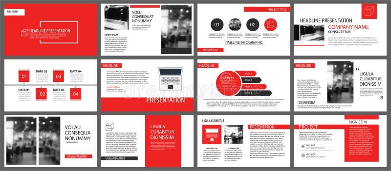 Rote Darstellungsschablonen für Diavorführungshintergrund Infographi lizenzfreie abbildung