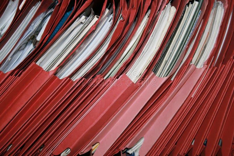 Rote Dateien stockbild
