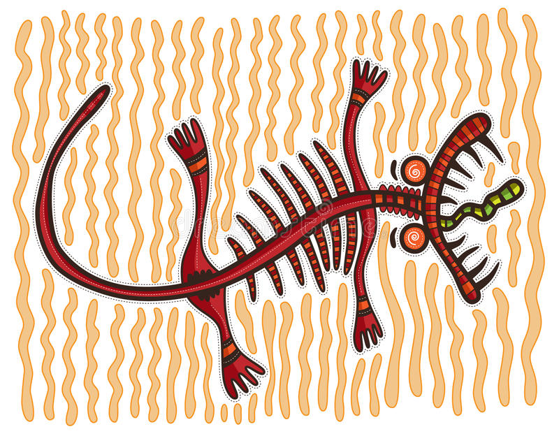Rote dekorative Eidechse auf einem Sand stock abbildung