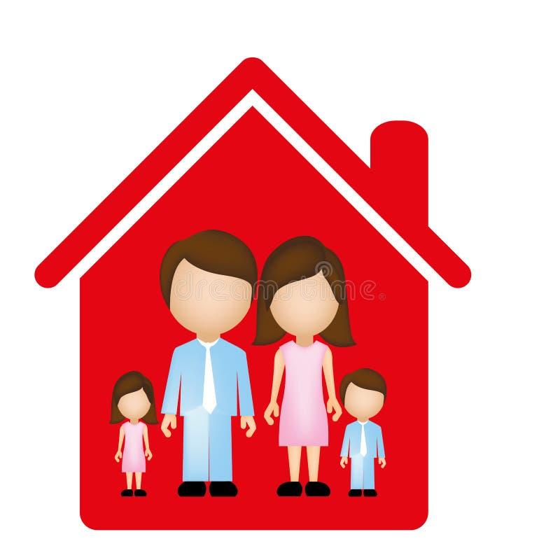 rote der Familie Ikone zusammen vektor abbildung