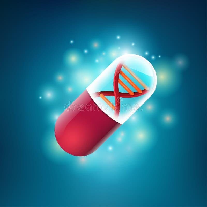 Rote DNA-Pille lizenzfreie abbildung