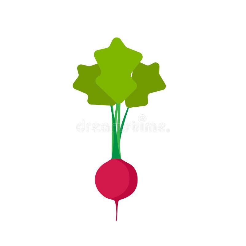 Rote Draufsicht-Vektorikone des Rettichs Flacher Gemüsebestandteil der natürlichen vegetarischen Symbollandwirtschaft Nahrungsmit lizenzfreie abbildung