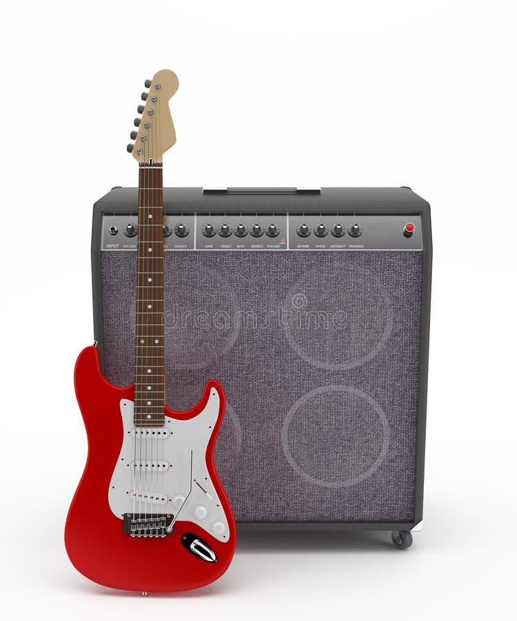 Rote E-Gitarre mit Verstärker lizenzfreie stockfotografie