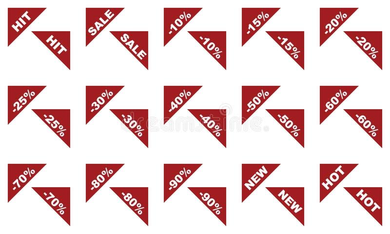 Rote Ebene lokalisierte Eckaufkleber für Verkäufe stock abbildung