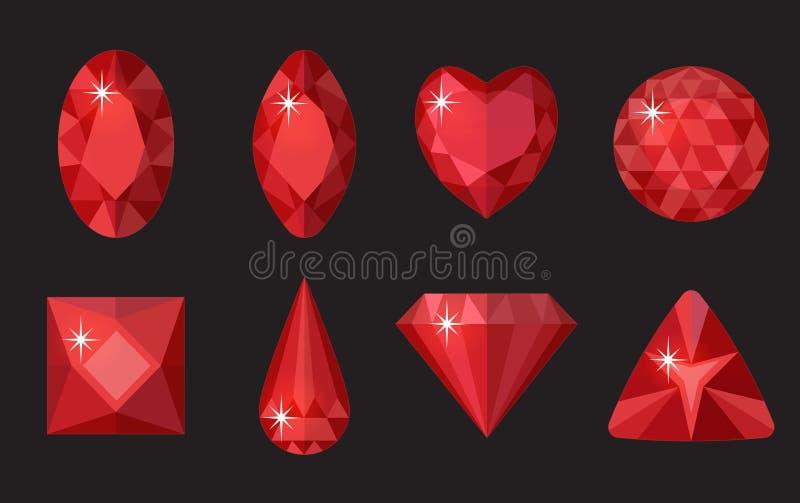 Rote Edelsteine eingestellt Schmuck, Kristallsammlung auf schwarzem Hintergrund Rubine, Diamanten von verschiedenen Formen, Schni lizenzfreie abbildung