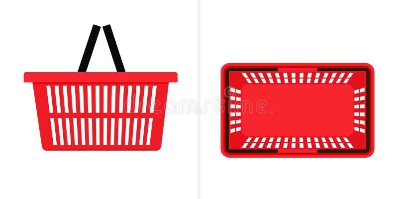 Rote Einkaufskorb-Ikone vektor abbildung