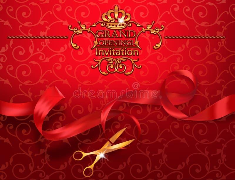 Rote Einladungskarte der festlichen Eröffnung mit Scheren und rotes Band vektor abbildung