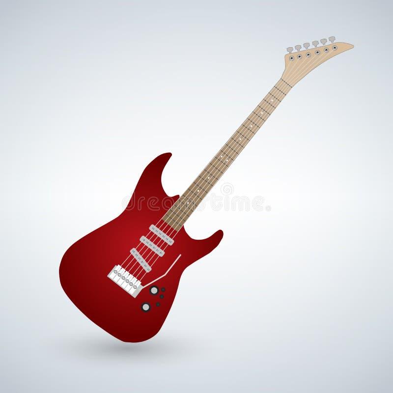 Rote elektrische Gitarre auf weißem Hintergrund lizenzfreie abbildung