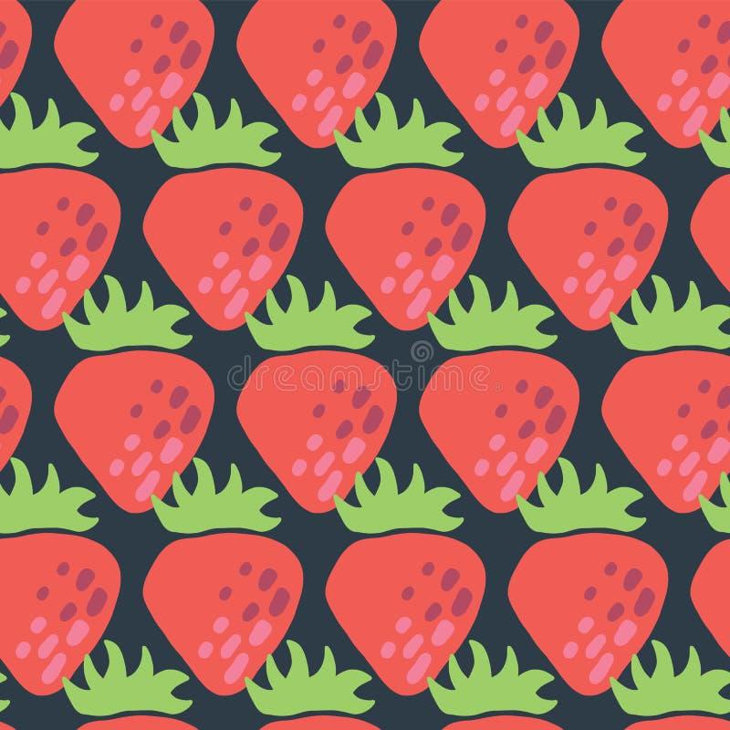 Rote Erdbeernahtloses Vektormuster Retro- lizenzfreie abbildung
