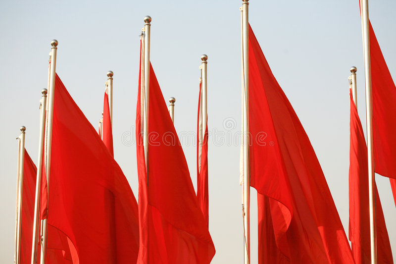 Rote Fahne stockfotografie