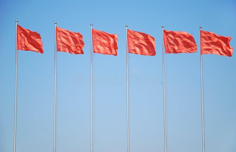 Rote Fahne sechs stockfotografie