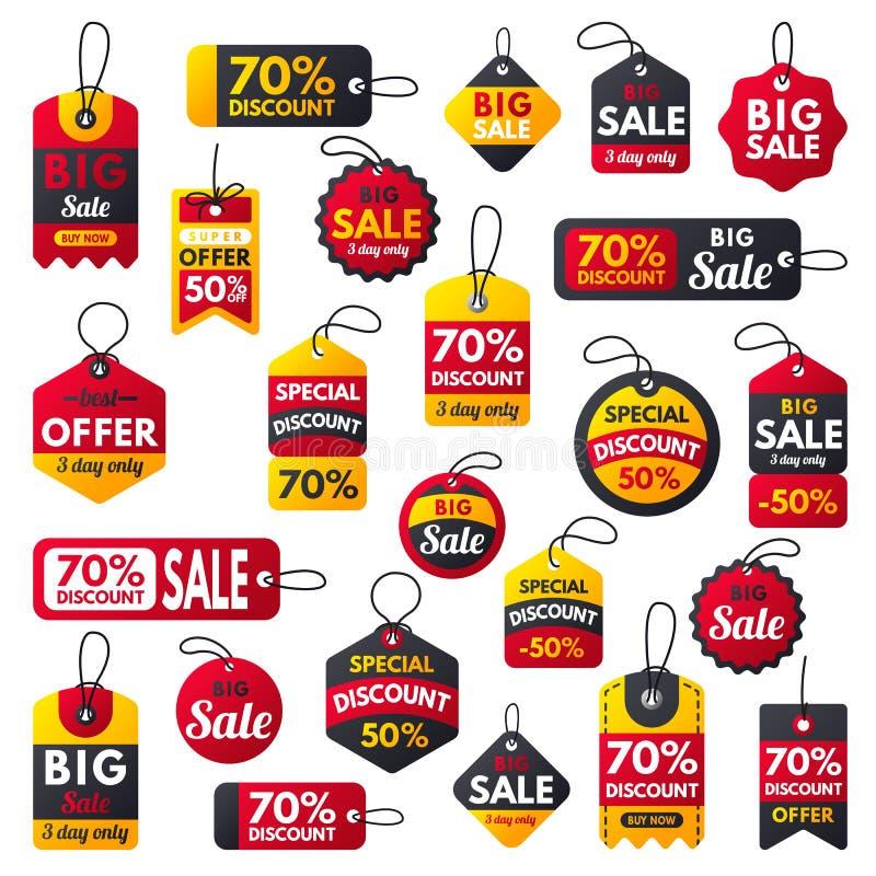Rote Fahnen der Superverkaufsextraprämie simsen Aufklebergeschäftseinkaufsinternet-Förderungsrabattangebot-Vektorillustration stock abbildung
