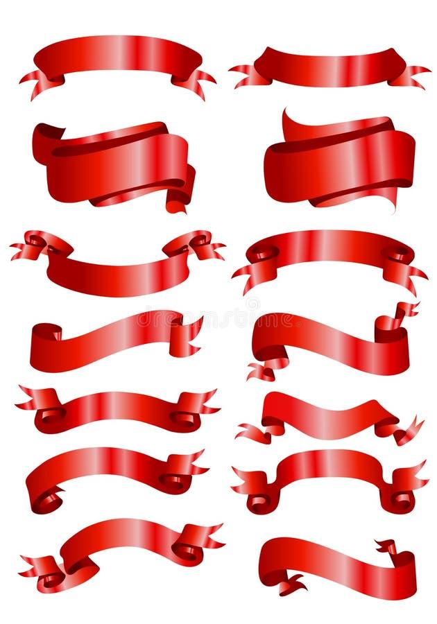 Rote Fahnenfarbbänder lizenzfreie abbildung