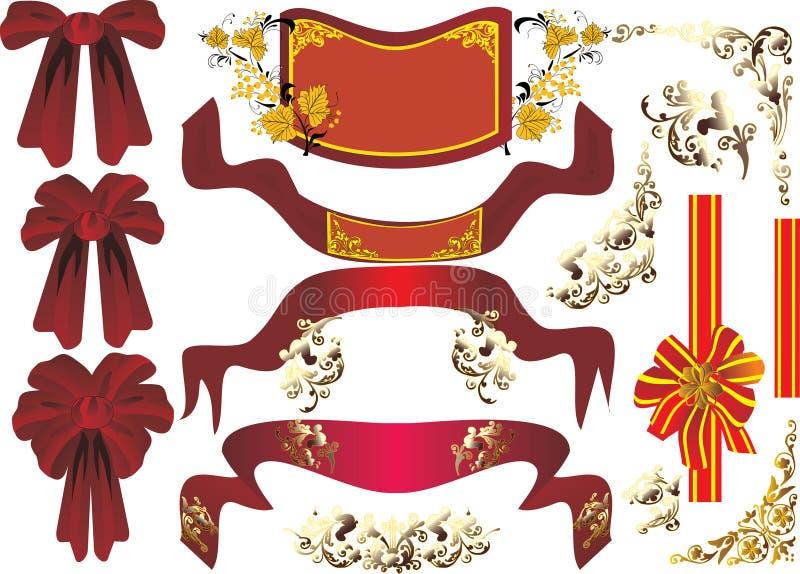 Download Rote Farbbänder auf Weiß stock abbildung. Illustration von teil - 9088314