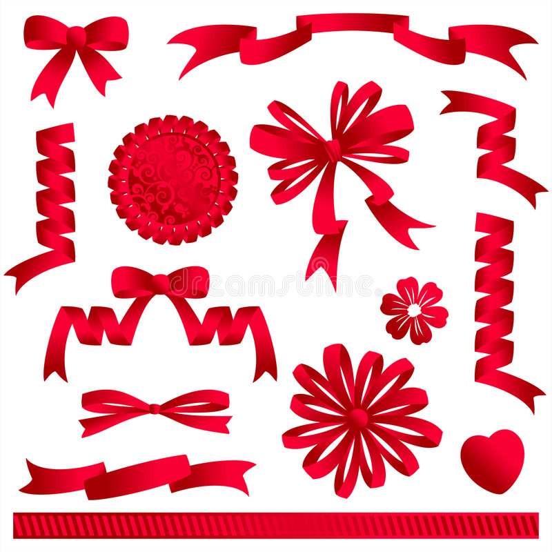 Rote Farbbandbögen, Fahnen, usw. stock abbildung