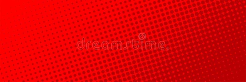 Rote Farbe des komischen Halbtonpunkthintergrundes Komischer Hintergrund Halbtonbild punktiert Hintergrund lizenzfreie abbildung