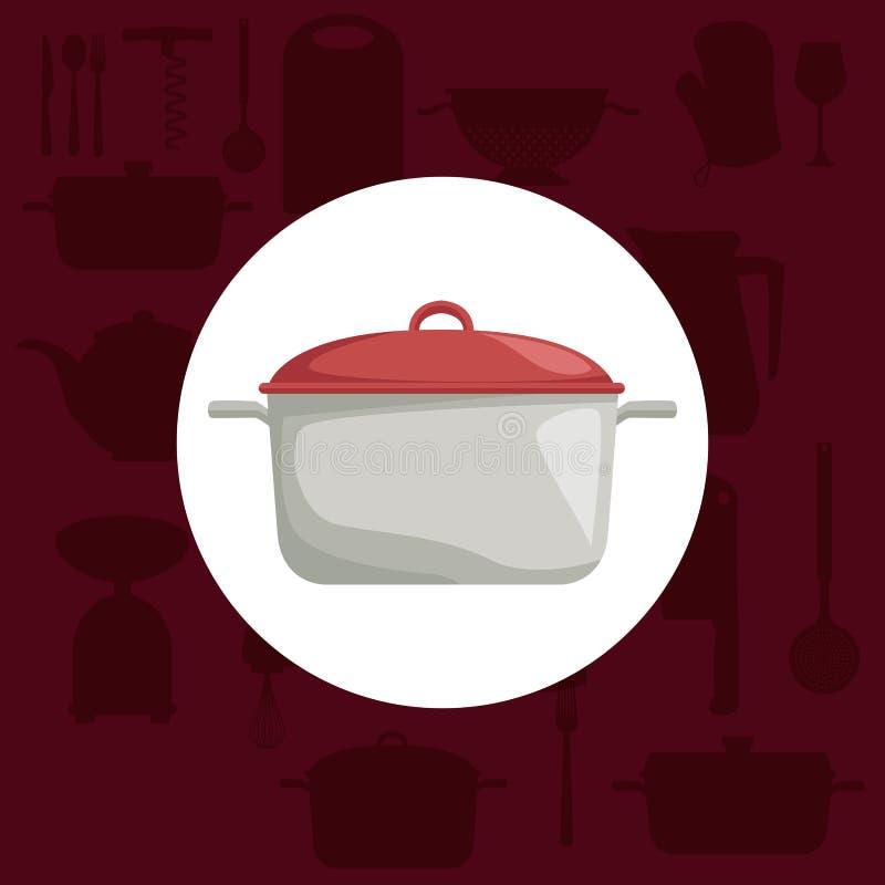 Rote Farbhintergrund mit Ikonenelementen der Küche und Kreisrahmen des realistischen Topfes lizenzfreie abbildung