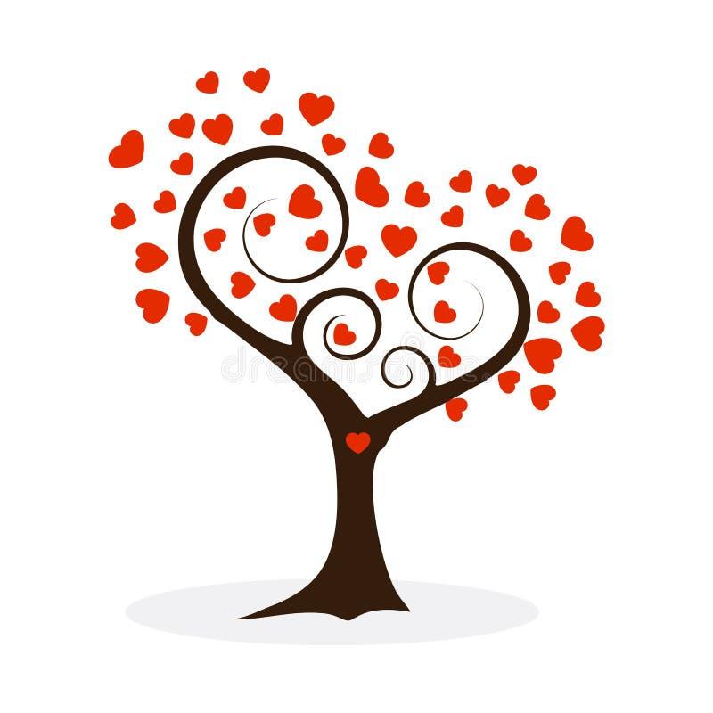 Rote Farbillustration des Liebesbaums lokalisiert auf Weiß stock abbildung