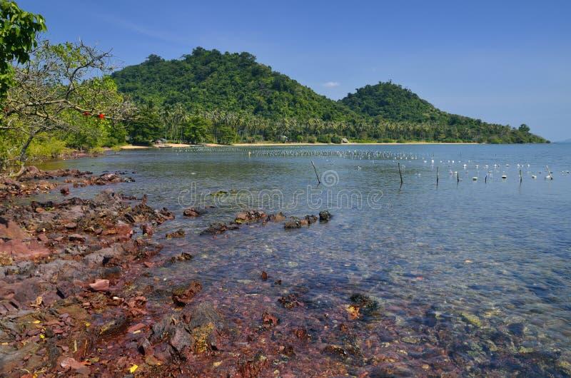 Rote Felsen und translucid Meer in kambodschanischer Insel lizenzfreies stockbild