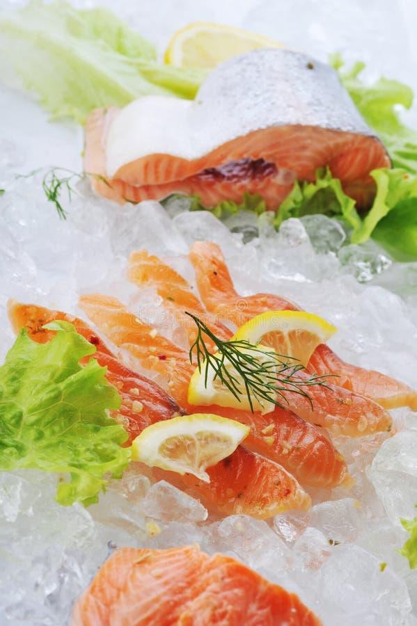 Rote Fische auf Eis lizenzfreie stockbilder