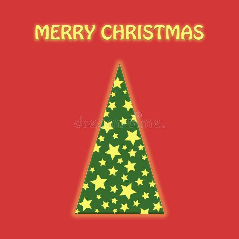 Rote flache Lage Weihnachtsbaum-Grün whith Girlande stock abbildung