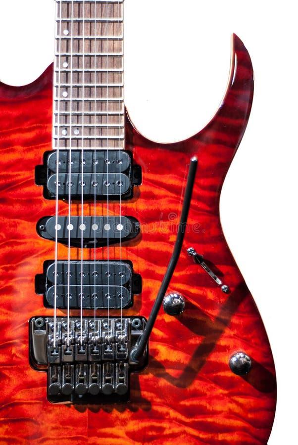 Rote Flammegitarre lizenzfreies stockbild