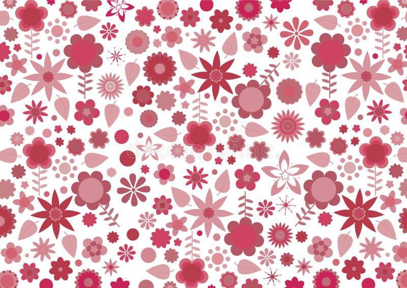 Rote flippige Blumen und Blätter lizenzfreie abbildung
