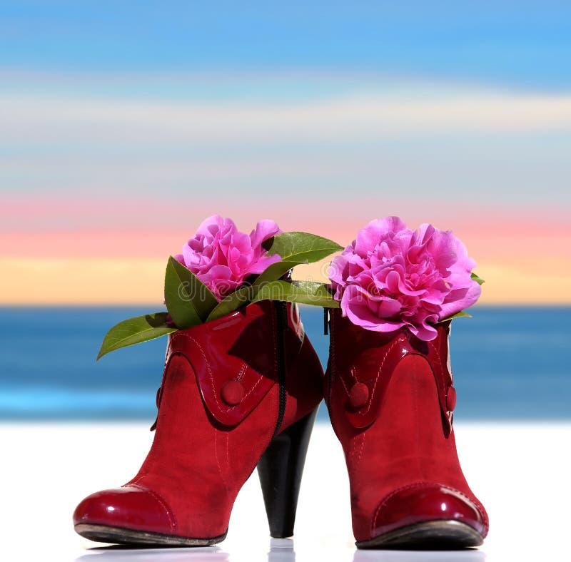 Rote Frau bereift Whitblumen lizenzfreies stockfoto