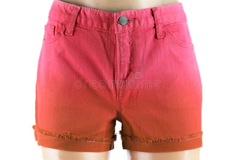 Rote Frauenkurze jeanshose. Front stockfotografie