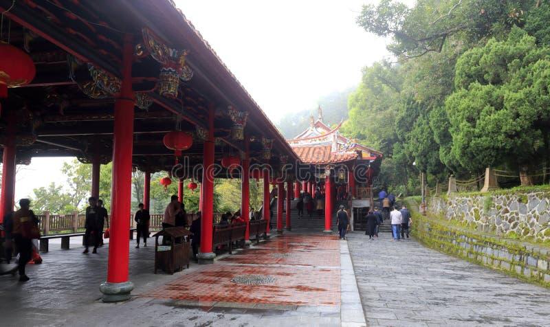 Rote Galerie des qingshuiyan Tempels in Anxi County, luftgetrockneter Ziegelstein rgb lizenzfreies stockfoto