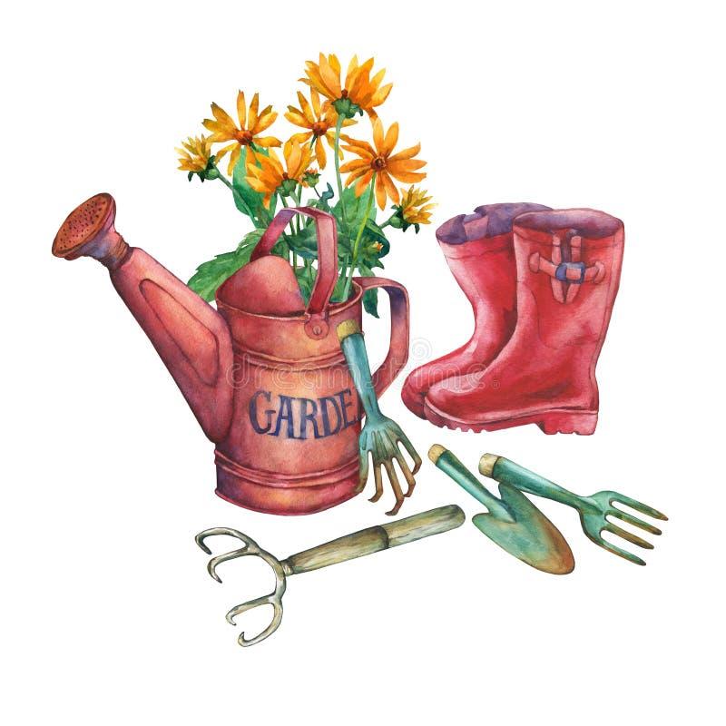 Rote Gartengießkanne der Weinlese mit einem Blumenstrauß von gelben Blumen, von roten Gummistiefeln und von Gartenwerkzeugen lizenzfreie abbildung