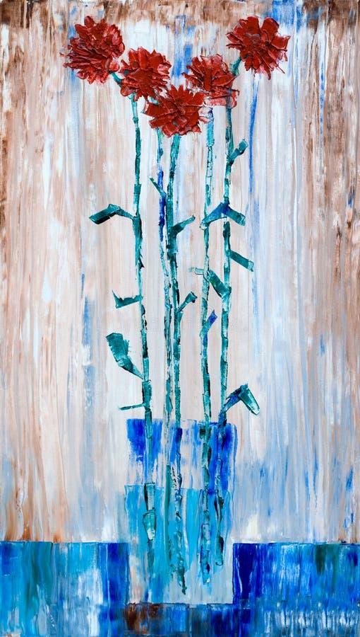 Rote Gartennelke blüht in einem gemalten Vasenschmieröl lizenzfreie abbildung