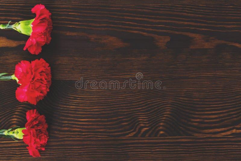 Rote Gartennelken auf hölzerner Tabelle lizenzfreie stockbilder