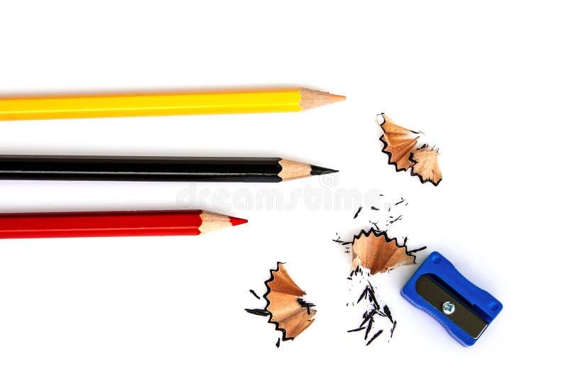 Rote, gelbe und schwarze Bleistifte lizenzfreies stockbild
