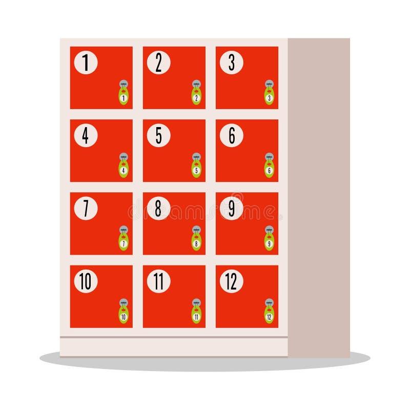 Rote Gepäckaufbewahrung, amera Zwischenspeicher von den Sachen im Supermarkt stock abbildung