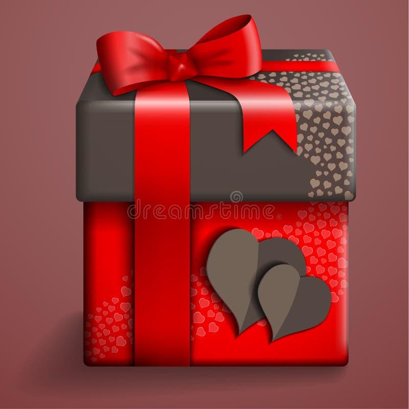 Rote Geschenkbox stock abbildung