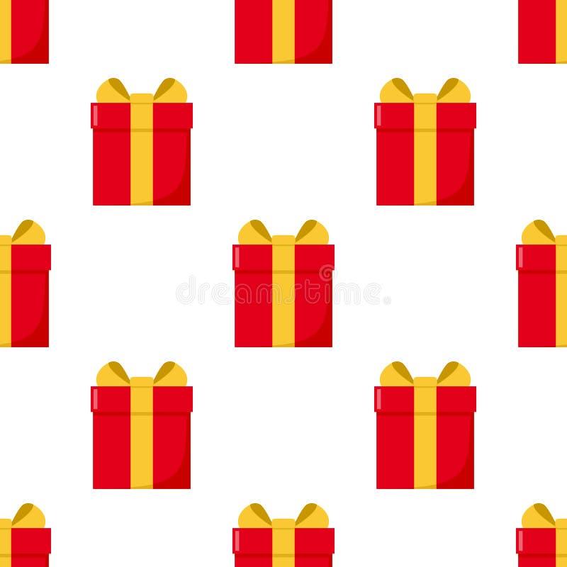 Rote Geschenkbox-flache Ikonen-nahtloses Muster vektor abbildung