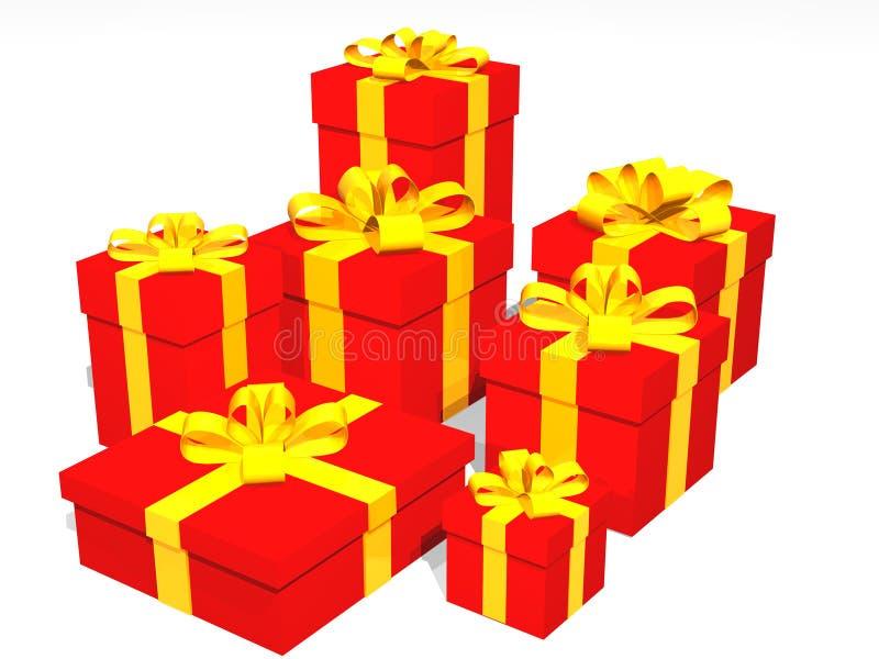 Rote Geschenke in 3d über einem schwarzen Hintergrund vektor abbildung