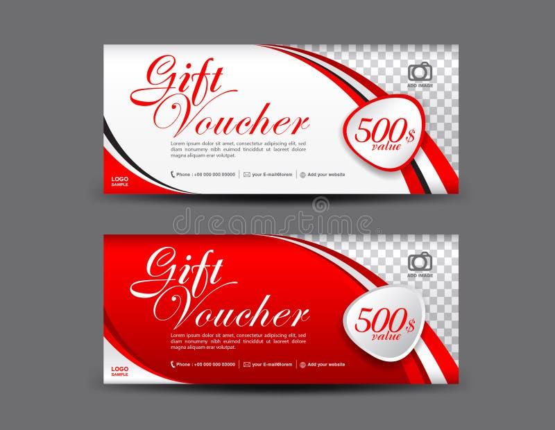 Rote Geschenkgutscheinschablone, Kupondesign, Gutschein lizenzfreie abbildung