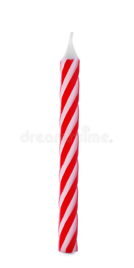 Rote gestreifte Geburtstagskerze lokalisierte lizenzfreies stockfoto