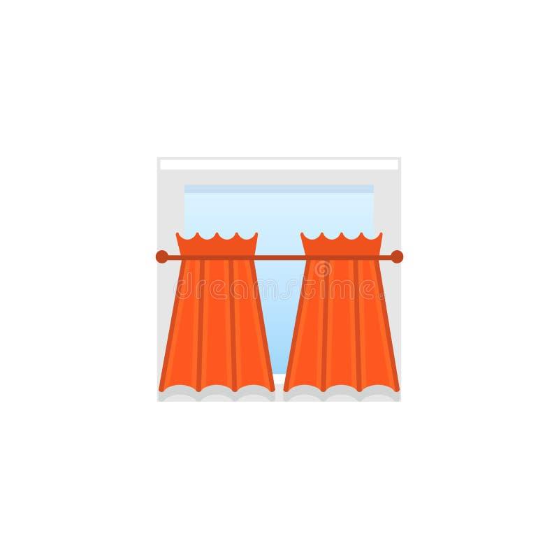 Rote Gewebevorhänge mit Drapierung Auch im corel abgehobenen Betrag Flache Ikone lizenzfreie abbildung