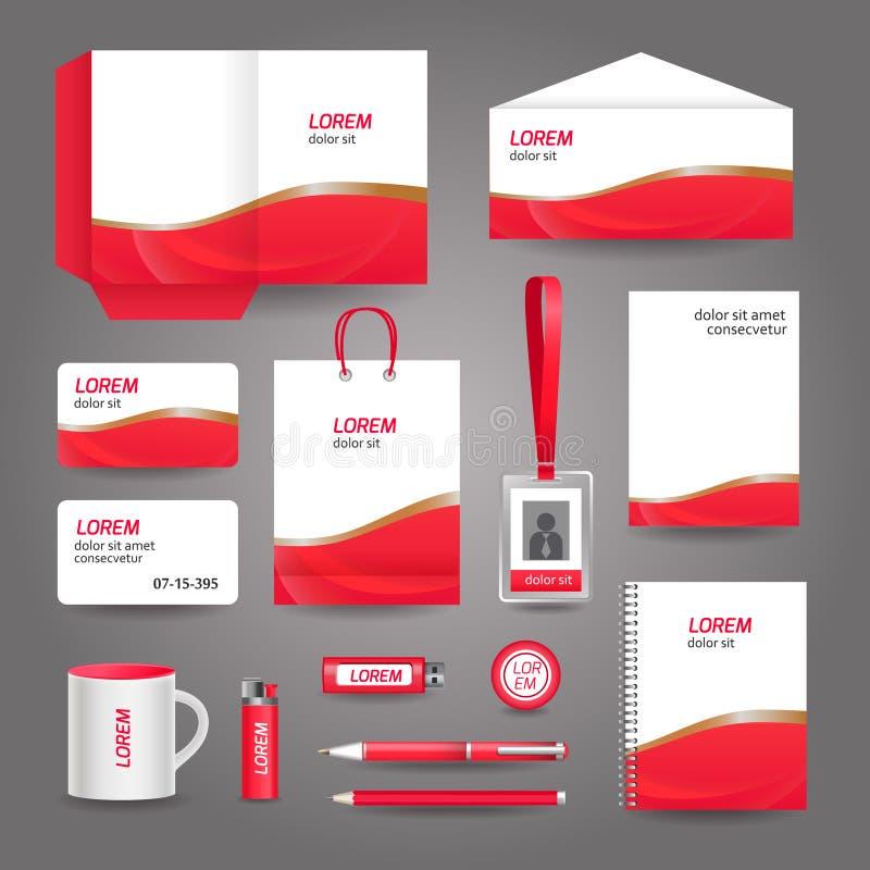 Rote gewellte abstrakte Geschäftsbriefpapierschablone vektor abbildung
