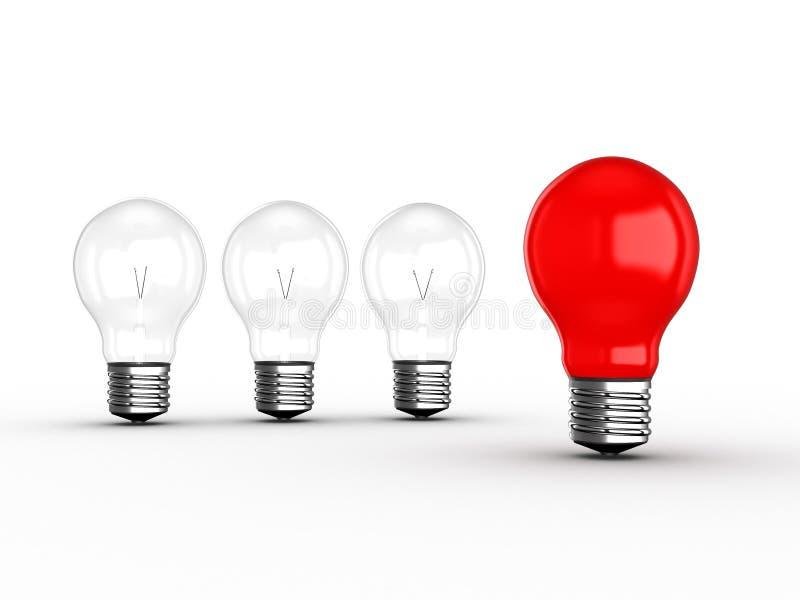 Rote Glühlampe-Führung stock abbildung