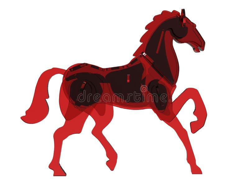 Rote Glaspferdeillustration lizenzfreie abbildung