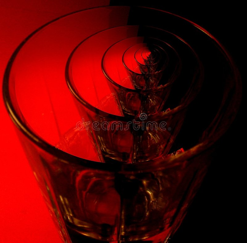 Rote Glaswiederholung stockfoto